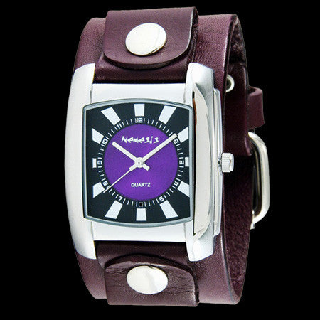 NEMESIS SUNSHINE PURPLE LEATHER WATCH
