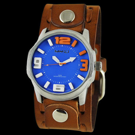 NEMESIS EMBOSSED 3D BLUE DIAL BROWN LEATHER WATCH