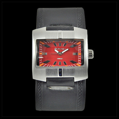 NEMESIS RACER RED DIAL BLACK LEATHER WATCH