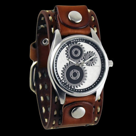 NEMESIS GEARED WHITE DIAL BROWN LEATHER WATCH