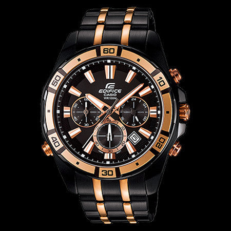 CASIO EDIFICE BLACK & GOLD ILLUMINATOR WATCH EFR534BKG-1A