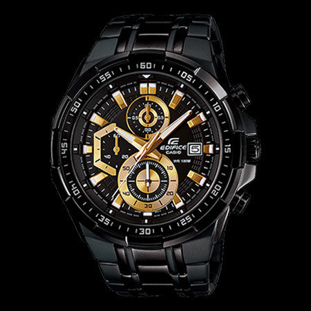 CASIO EDIFICE BLACK & GOLD CHRONOGRAPH WATCH EFR539BK-1A