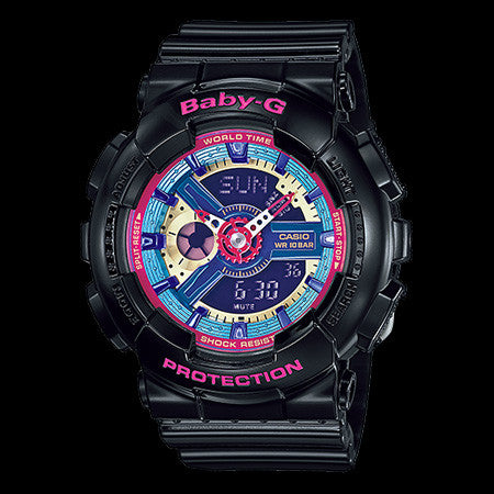 CASIO BABY-G DUO BLACK & PINK WATCH BA112-1A
