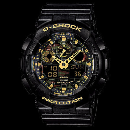 CASIO G-SHOCK BLACK & GOLD CAMO WATCH GA100CF-1A9