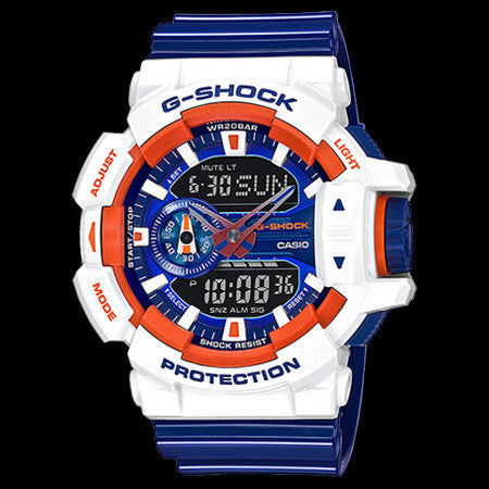 CASIO G-SHOCK BLUE & ORANGE CRAZY SPORTS COLOURS WATCH GA400CS-7A