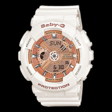 CASIO BABY-G WHITE & ROSE GOLD DUO WATCH BA110-7A1