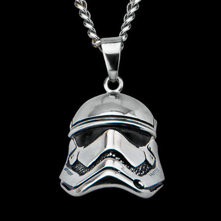 STAR WARS STAINLESS STEEL FIRST ORDER STORMTROOPER HELMET NECKLACE