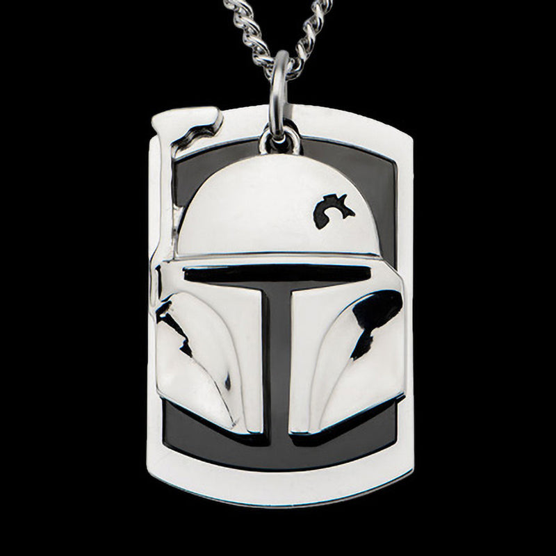 STAR WARS STAINLESS STEEL BOBA FETT 3D DOG TAG NECKLACE