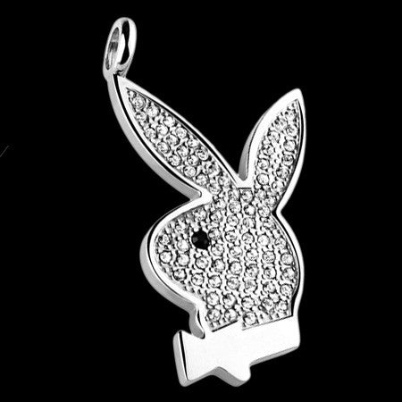 STAINLESS STEEL PAVED GEM PLAYBOY BUNNY NECKLACE