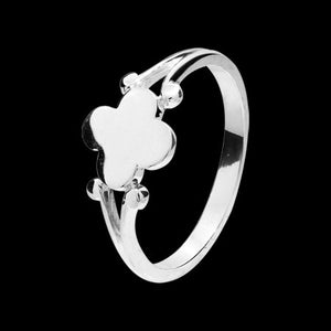 STERLING SILVER SIGNET CLOVER RING
