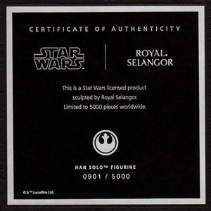 STAR WARS ROYAL SELANGOR HAN SOLO PEWTER LIMITED FIGURINE