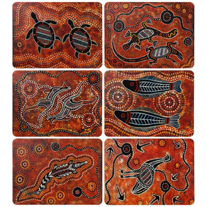 Brown Aboriginal Prints Placemat Set - Yiyibi