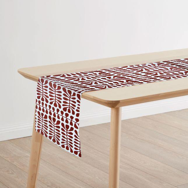 Beautiful Australian made table runner on wooden table