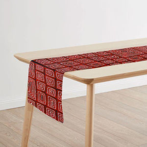 Red Australian Table Runner featuring indigenous design