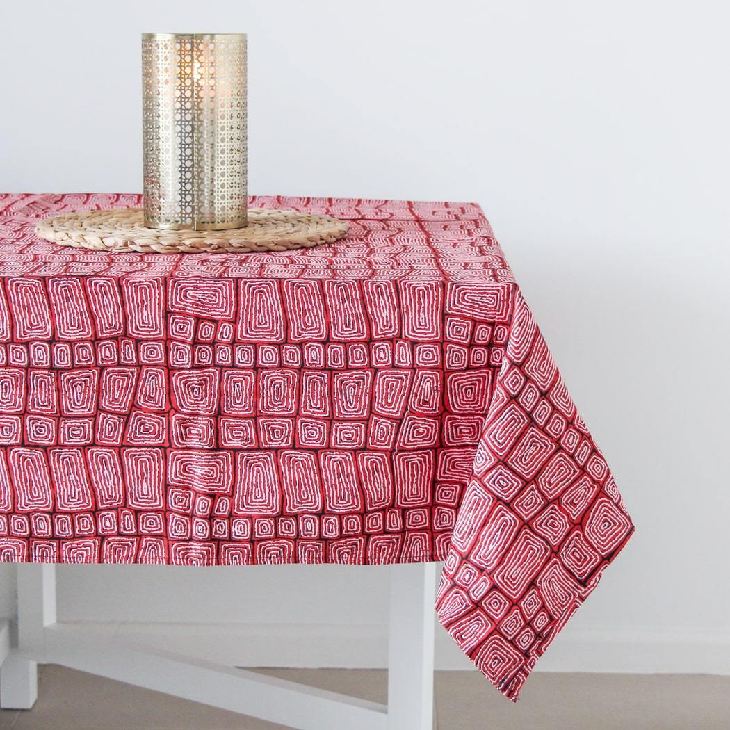 Australian Table cloth featuring red aboriginal art print
