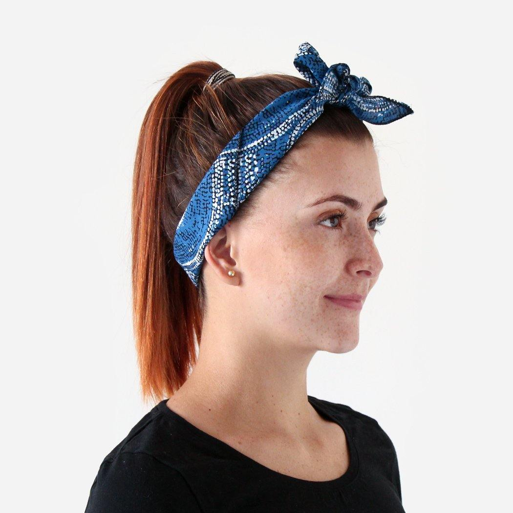woman wearing Australian made Bandana souvenir