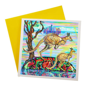 Greeting Card with kangaroo design and Sydney city background