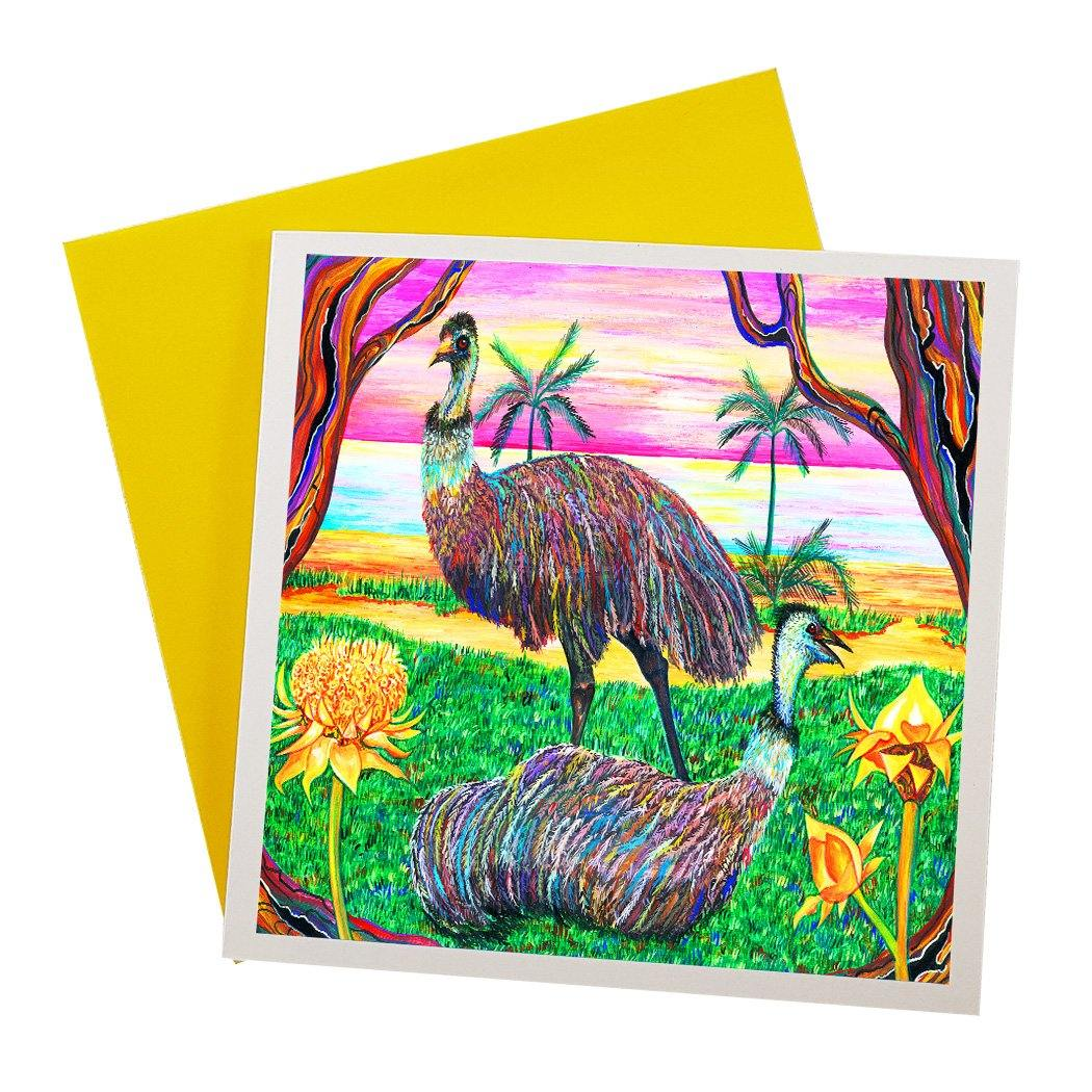 Australian Greeting card with psychedelic art of wild emus