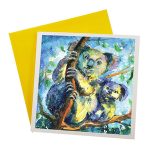 Australian Greeting Card Featuring Wild Koalas on tree