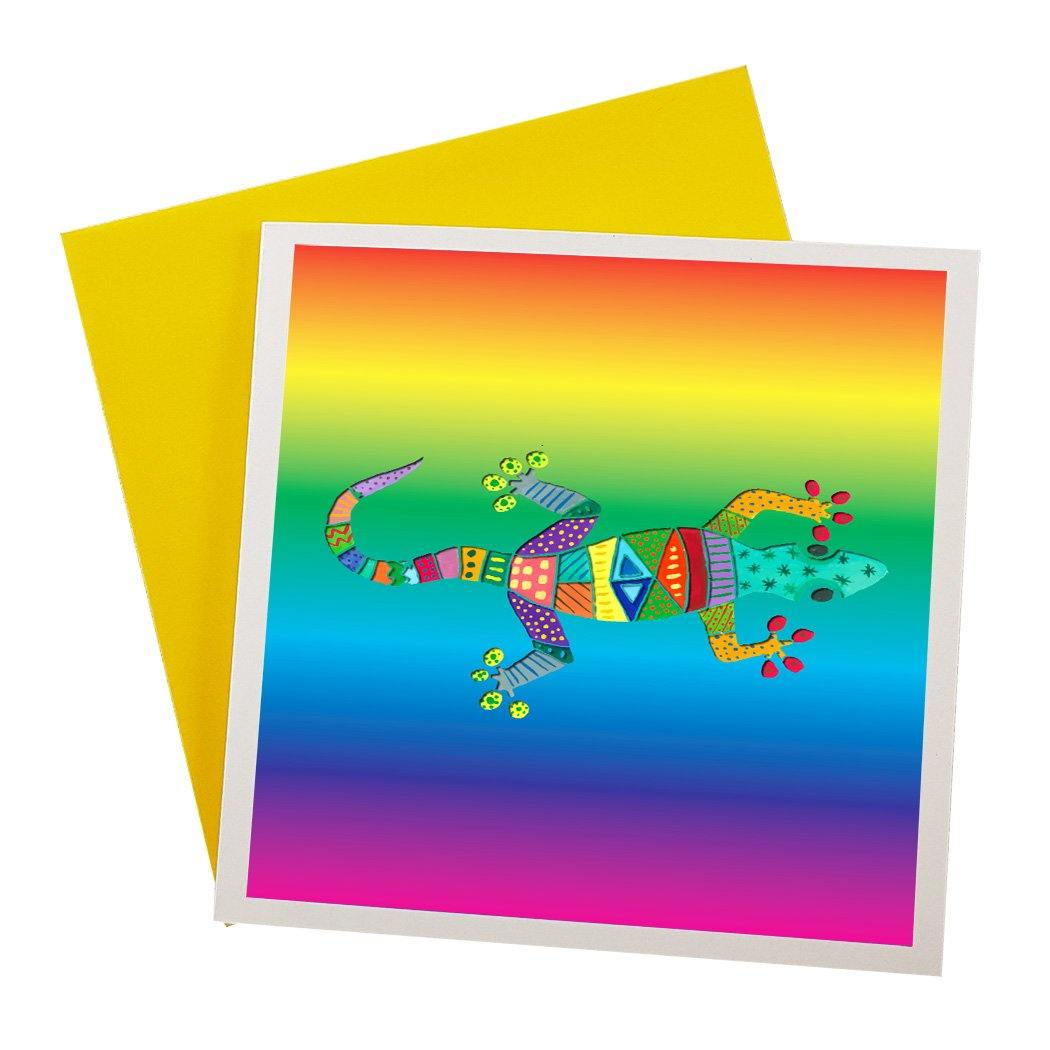 Australian Designed Greeting Card featuring colourful lizard