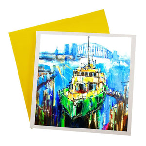 Australian greeting card featuring artwork of Sydney Harbour