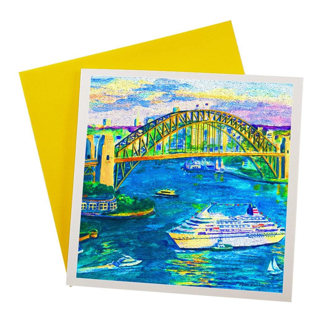Australian Greeting card featuring the Sydney Harbour from above