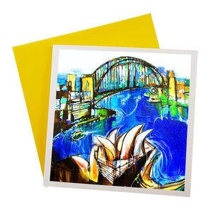 Australian Greeting Card featuring the Opera House and Harbour Bridge