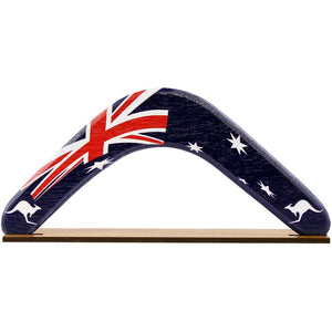 Boomerang on stand featuring Australian flag