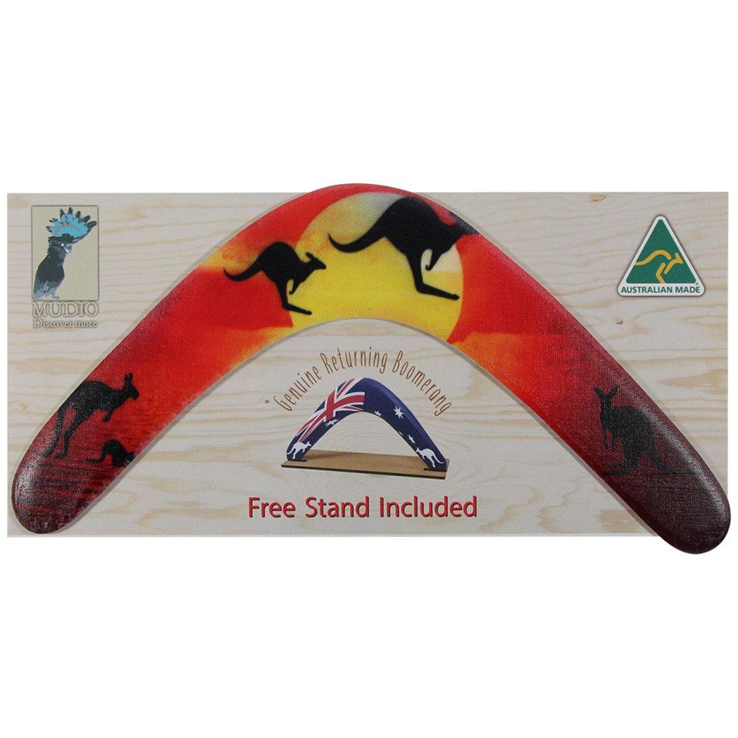 Australian boomerang with package featuring sunrise and kangaroos