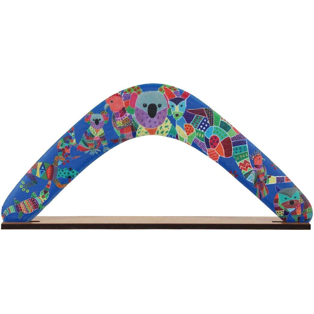 Australian made boomerang featuring Aussie animals by Sarah Sulman