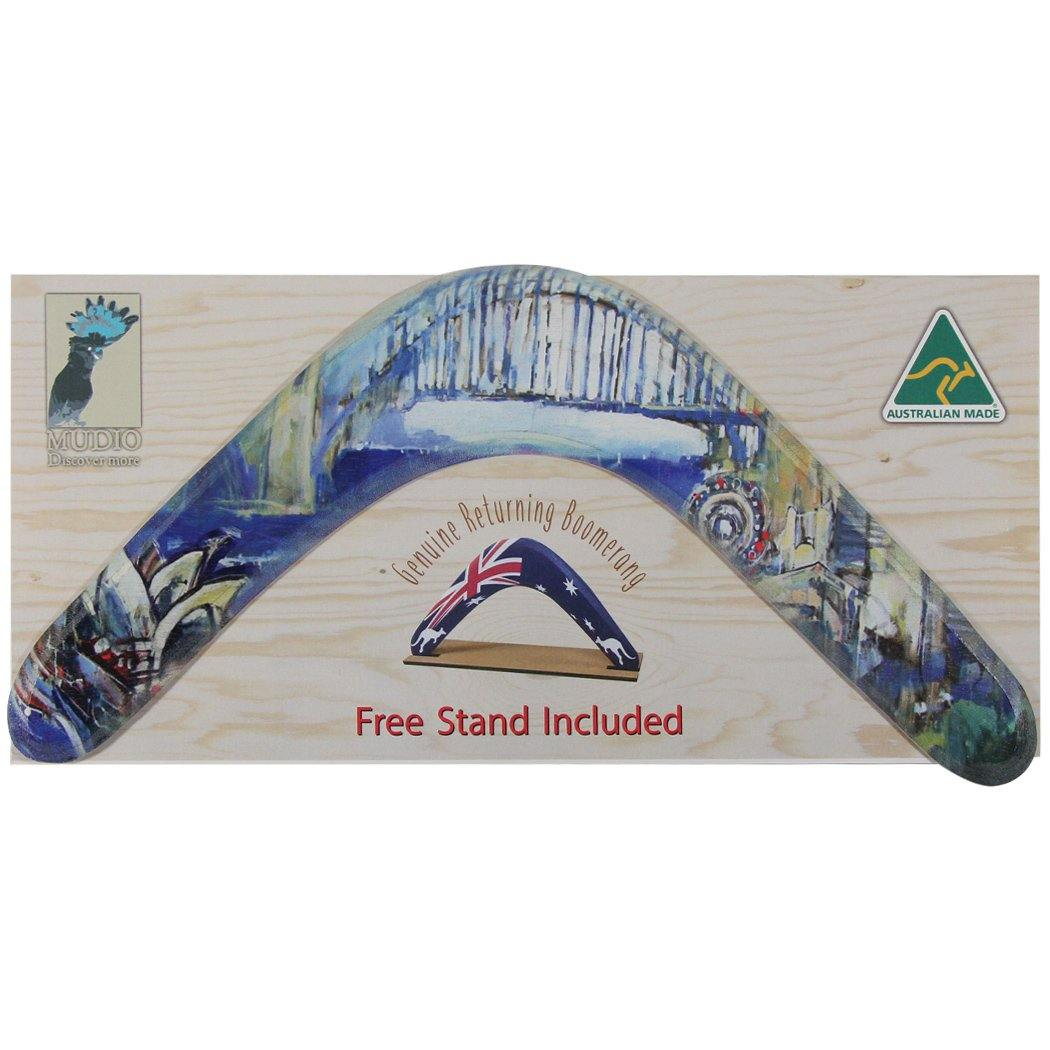 Boomerang with packaging featuring Sydney painting