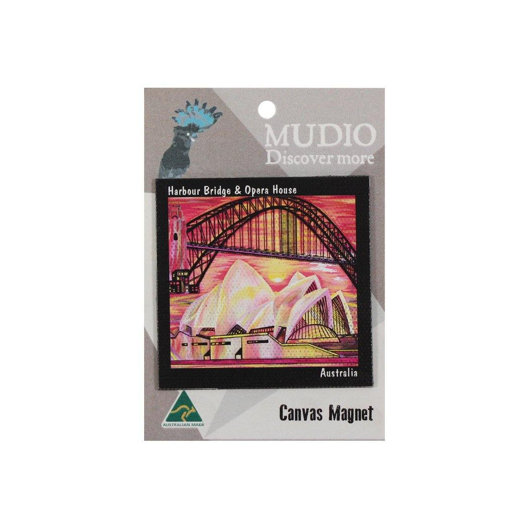 Mudio Artistry Range Canvas Magnet - Harbour Bridge Red