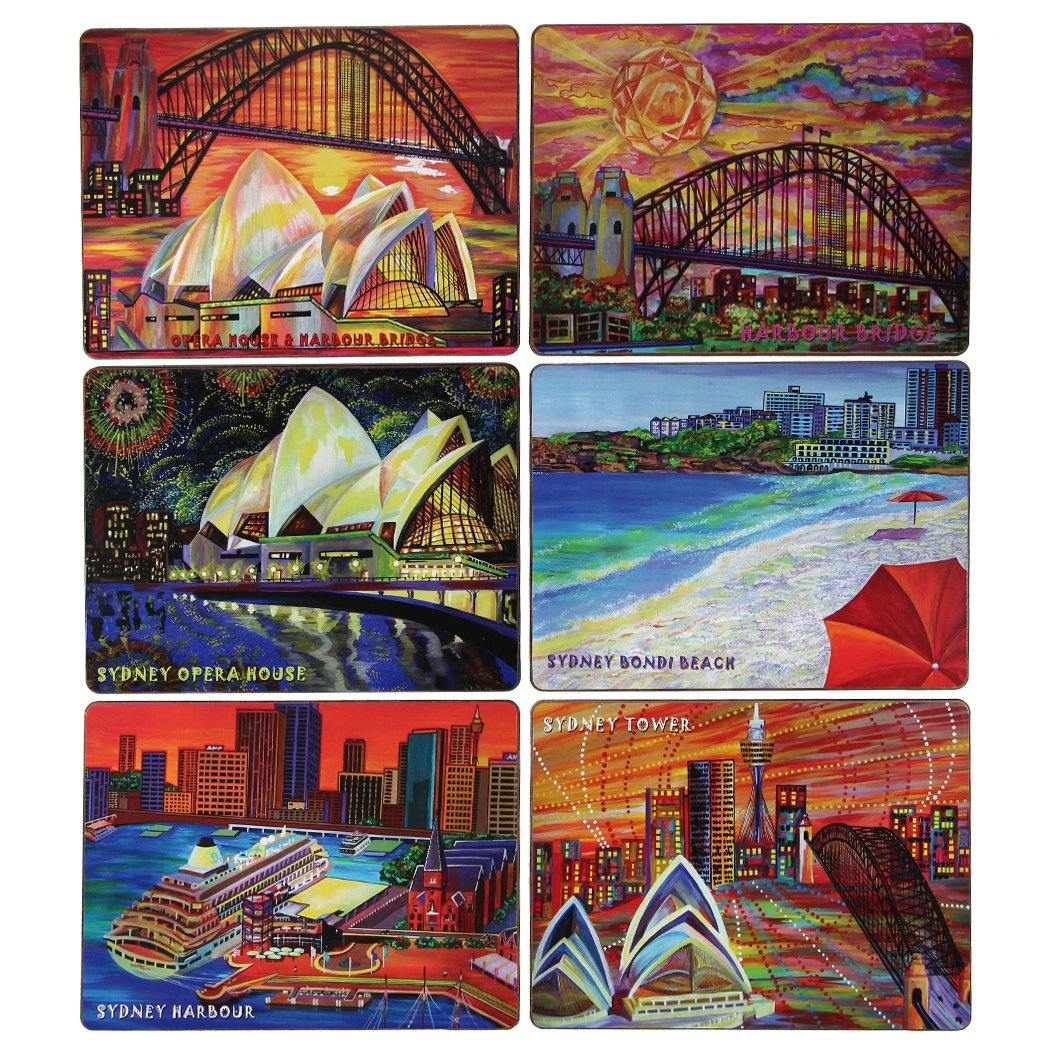 Mudio Artistry Range Placemats Collection x 6 - Artist's Impression of Sydney