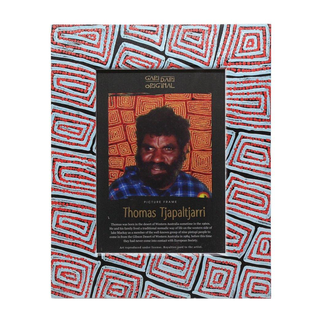 Thomas Tjapaltjarri Photo Frame Cyan Red