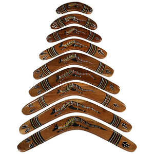 Group of traditional boomerangs made in Australia