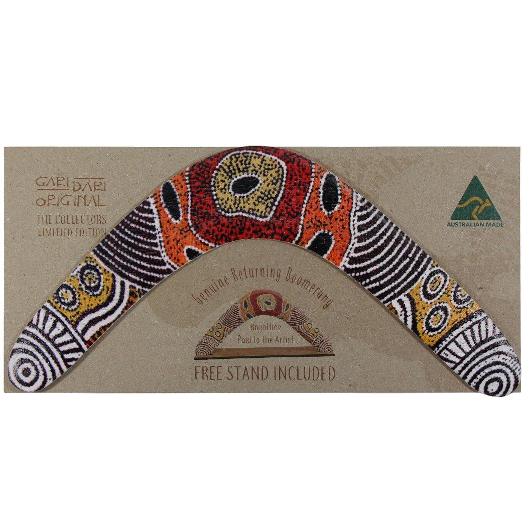 Boomerang with packaging featuring Western Desert Art