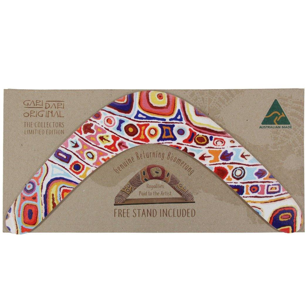 Australian made boomerang featuring authentic art