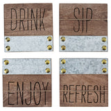 Bistro Sentiment Wood Coaster Set