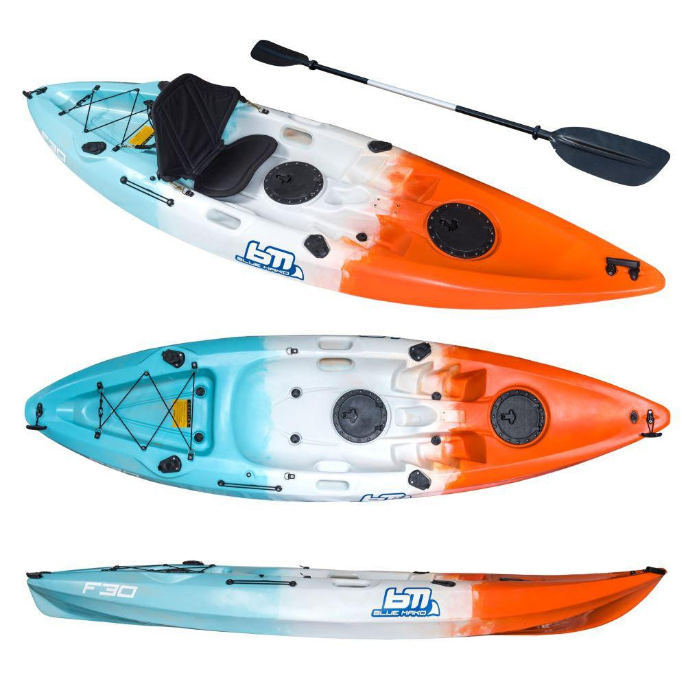 f30 | recreational fishing kayak-blue-white-orange