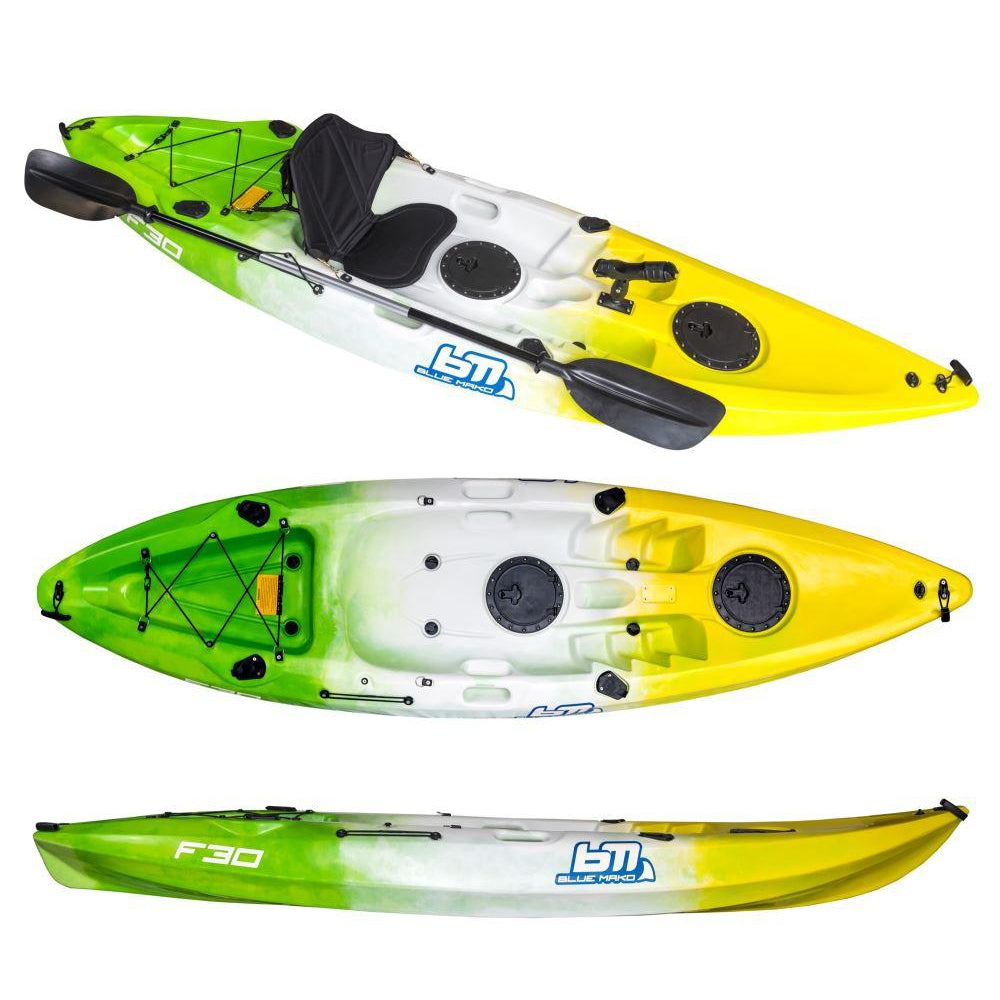 f30 | recreational fishing kayak-green-white-yellow