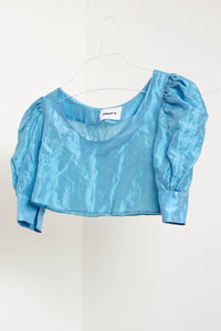 Nu Crop Top in Crinkled Blue