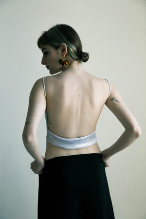 Backless top in Silver Sparkles