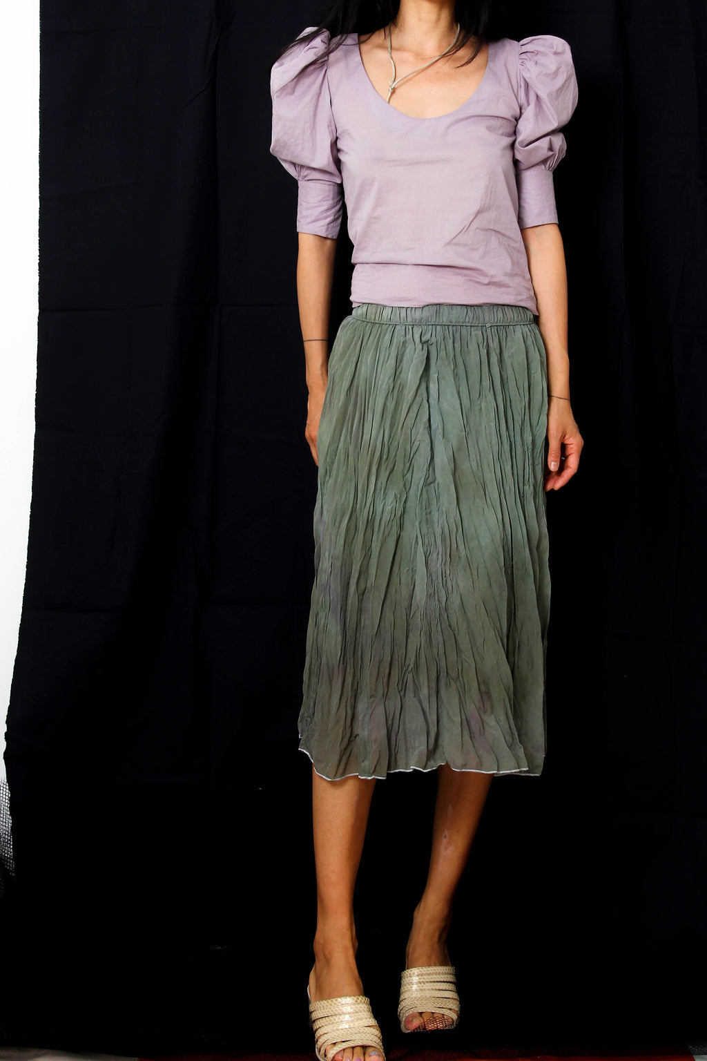 Silk Skirt in Kale