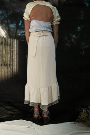 High-Wasited Silk Drape Skirt