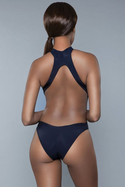 Black open back swimsuit