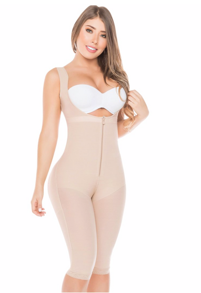 Fajas Salome 0520 | Open Bust Post Surgery Full Body Shaper for Women | Butt Lifter Knee Length Bodysuit | Powernet