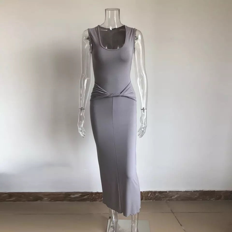 Grey twisted long dress