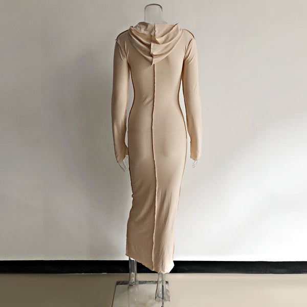 Stretchy hooded lined dress