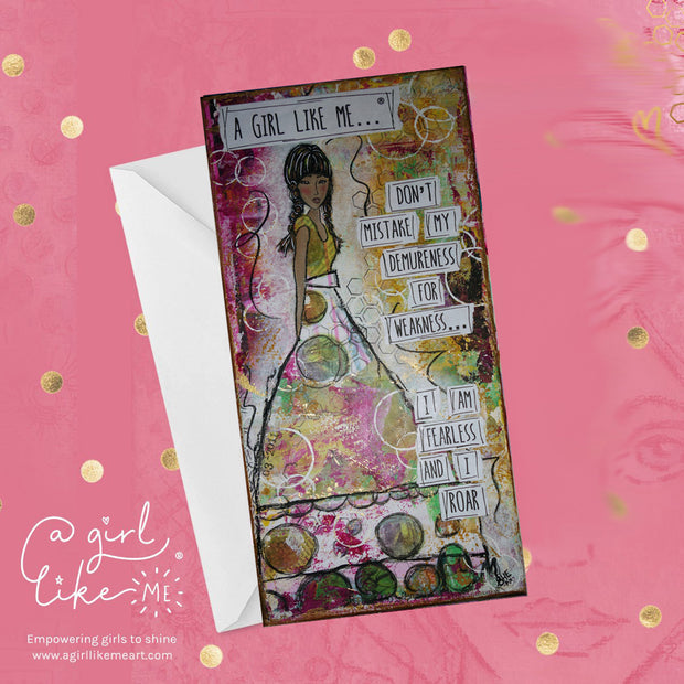Empowering greeting card for girls, tweens, teens and females