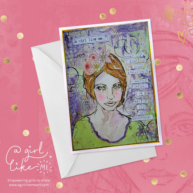 a girl like me...®misogyny - greeting card - A Girl Like Me Art by Sheila Mae